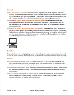 Blended Learning Sample Page